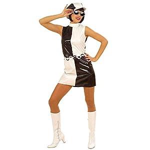 WIDMANN Iden Disfraz blanco y negro de los años 60 para mujer