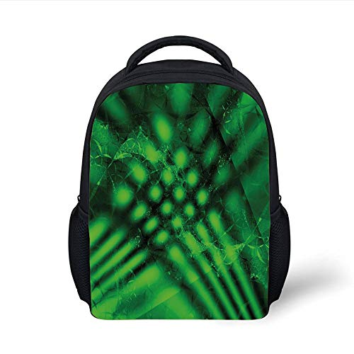 Kids School Backpack Lime Green,Psychedelic Abstract Blurry Shade Formless Effects Complex Visual Design,Hunter Green Black Plain Bookbag Travel Daypack -