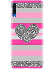 Think Tech Designer Printed Hard Back Case Cover for Samsung Galaxy A50 - Pink Glitter Cute Heart Fancy Woman Girl