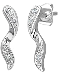 Naava Women's 0.03 ct Diamond Drop Earrings in 9 ct White Gold