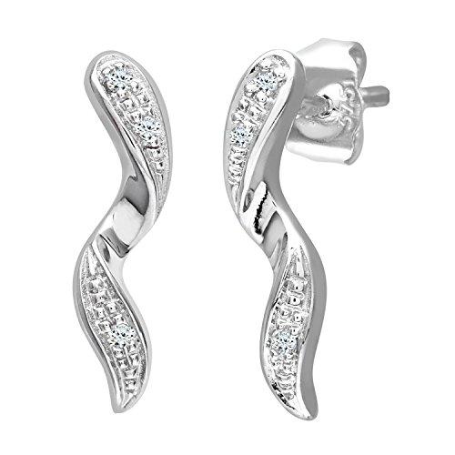 Naava - Pendientes de mujer de oro blanco (9k) con 6 diamantes,...