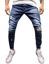 ITISME Jeanshosen Mens Skinny Stretch Denim Pants Distressed Ripped Freyed Slim Fit Jeans Herren Zerrissene