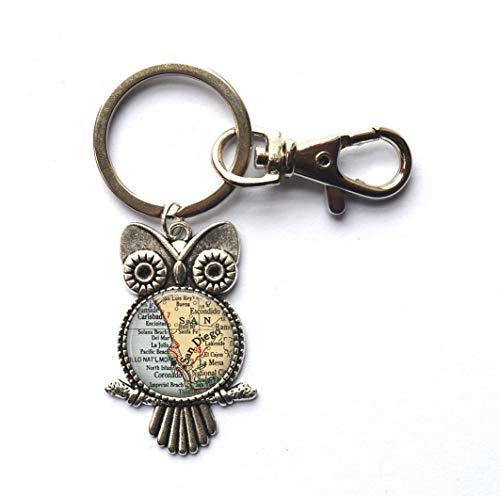 Schlüsselanhänger San Diego Karte von San Diego, San Diego, Schlüsselanhänger, San Diego, Eulen-Schlüsselanhänger, Modeschmuck, A0026