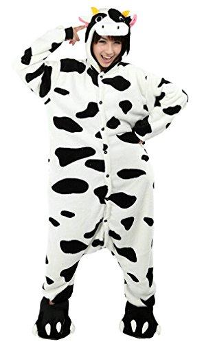 iKneu Tier Onesie Jumpsuits Pyjama Oberall Hausanzug Kigurum Fastnachtskostuem Schlafanzug Kuh