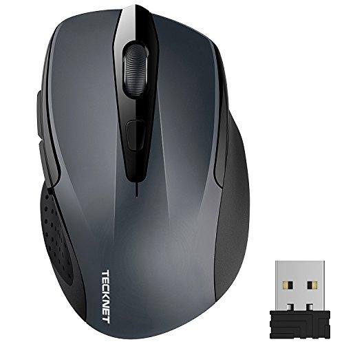 Kabellose Maus, TeckNet Pro 2.4G 2600 DPI Wireless Maus 6 Tasten mit Nano Empfänger, 24 Monate Batterielaufzeit, 5 Einstellbare DPI-Pegel für PC Laptop iMac Macbook Microsoft Pro, Office Home (Maus-usb-anschluss)