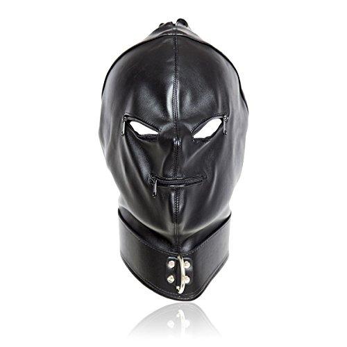 FeiGu Black Leather Bondage Gimp Mask Head Hood T16 (Weibliche Gimp Kostüm)