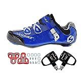 SIDEBIKE Radfahren Schuhe mit Pedalen & Pedalplatten, Fahrradschuhe für Erwachsene, Nylon Rennradschuhe Anti-Vibrationsdämpfung (46)