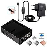 Für Raspberry pi 3 b+ Gehäuse und 5V 2.5A Netzteil Kabel mit EIN/aus Schalter, 3X Aluminium Kühlkörper Kompatible für Raspberry Pi 3b+ 3 2 Model b Case (Raspberry Pi Board Nicht Enthalten)