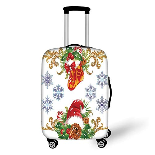 Suitcase Protector,Christmas Decorations,Classic Decorative Design with Stocking and Santa Hat Mistletoe Snowflakes,Multi,for Travel,M ()