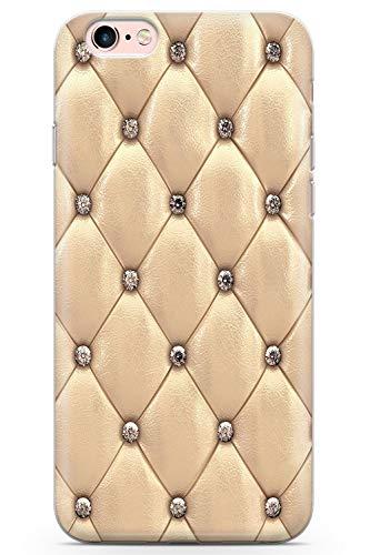 Case Warehouse iPhone 6 / 6s Designer Arbeiten Gold Beschlagene Leder Schutz Gummi Handyhülle TPU Bumper Süss Blau Stein Girls Modisch -
