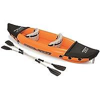 JIEXIAO 2 Persona Kayak Inflable, Barco Inflable Conjunto, Estable y Confortable, Ideal para los Lagos o en el mar Shores