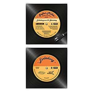 Cartes d'invitation pour anniversaire 60 pièces en forme de disque vinyle lP cD de musique