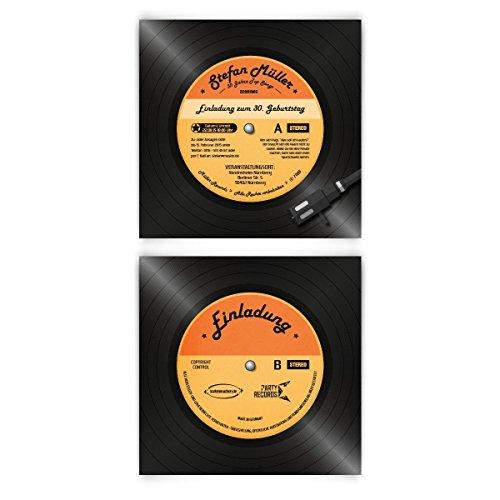 Einladungskarten zum Geburtstag (40 Stück) als Schallplatte Vinyl LP CD Musik Platte