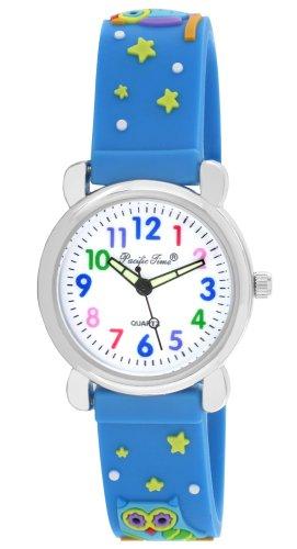 Armbanduhr Lernuhr Mädchen Jungen bunte Eule Analog Quarz blau 20791 ()