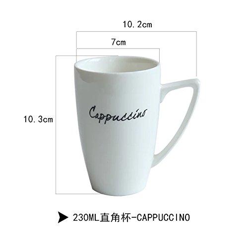 Btftkjbf La Tasse en Céramique Blanche Simple Original Cup Lettre Anglaise Breakfast Tasse À Café Tasse en Porcelaine Tasse De Lait,d'oreille