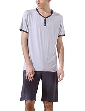 Dolamen Pijamas para Hombre, Pijamas Hombre Primavera verano, Hombre camisones deportes Corta, 100% Algodón suave...