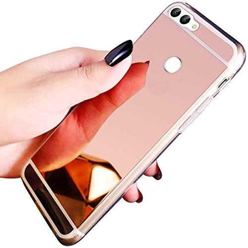 Herbests Kompatibel mit Huawei P Smart 2018 Handyhülle Überzug Spiegel Case, Transparent Weiche TPU Silikon Handyhülle Handytasche Crystal Clear Durchsichtige Handy Schutzhülle,Rose Gold