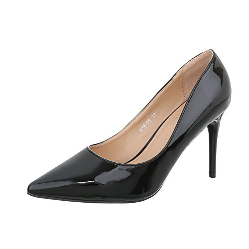 Ital-Design High Heel Pumps Damen-Schuhe High Heel Pumps Pfennig-/Stilettoabsatz High Heels Pumps Schwarz, Gr 39, H18-05-