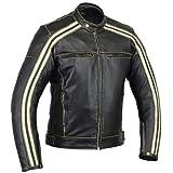 "Retro-Motorrad-Jacke ""The Bonnie"", Farbe: Schwarzer Kaffee, Rennjacke, 100% Rindsleder, mit CE-Armour-Protektor,elfenbeinfarbene Streifen"