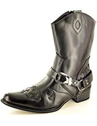 f022f09a507e Mens Gents Western Cowboy Ankle Zip Up Black Boots UK Size 7 8 9 10 11