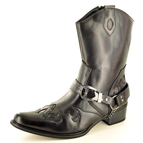 My Perfect Herren Westernstiefel Cowboystiefel, Reißverschluss, Schwarz, Gr. 41/43 / 46, Schwarz - Schwarz - Größe: 42 EU   ()