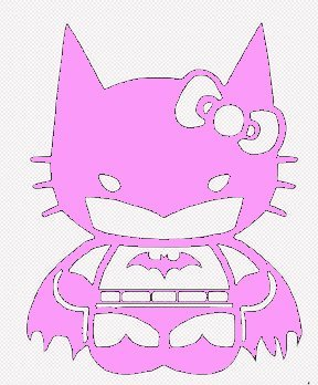 SUPERSTICKI® Hello Kitty Batgirl Batman Aufkleber Decal Hintergrund/Maße in inch Vinyl Sticker|Cars Trucks Vans Walls Laptop| Pink |5.5 in|CCI435
