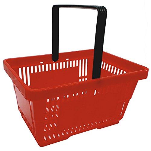 1 Einkaufskorb in rot mit einem Tragegriff aus Plastik 20 Liter Verkaufskorb Verkaufskörbe stapelbar