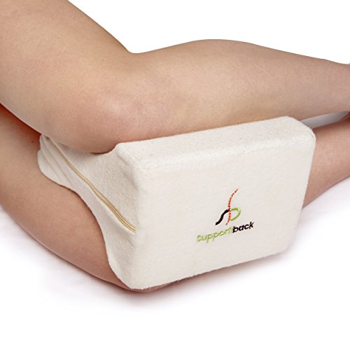 Supportiback® Orthopedic Knee Cushion for Sciatica, Back, Hip, Joint, Pregnancy Pain Relief, Side Sleepers - Doctor Designed Ergonomic Contoured High-Density Memory Foam