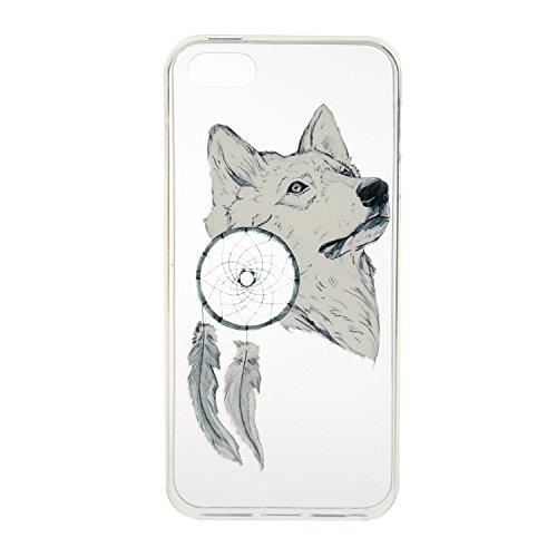 Custodia per iPhone 7, custodia trasparente per iPhone 7, custodia protettiva, ultra sottile, trasparente, in silicone, flessibile per iPhone 7, custodia TOYYM con copertura posteriore, protettiva, in Wolf and Campanula
