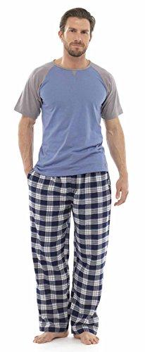 Herren Langes Pyjama- / Schlafanzug-Set, warm, gestreift Blue/Grey With Eye Mask