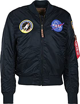 Alpha Industries Hombre MA-1 VF NASA chaqueta de bombardero Logo, Verde