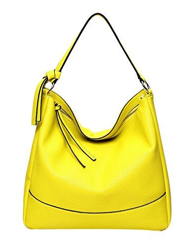 Pb-soar Borsa Shopper Donna Tracolla Tracolla In Pelle Pu 38x34x12cm (lxxx) (giallo) Giallo