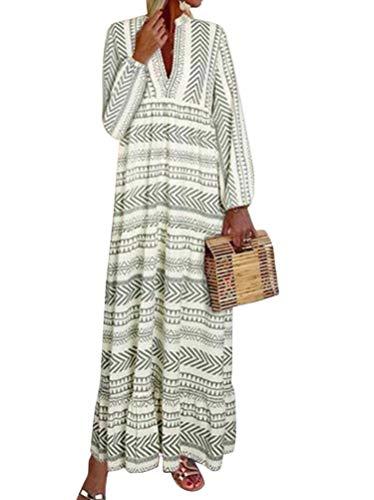 ORANDESIGNE Kleid Damen Lang V Ausschnitt Elegant Strandkleid Frauen Mit Ärmel Vintage Party Maxikleid Boho Drucken Kleider C Grün 34