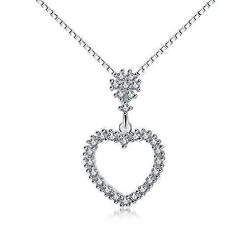 Zirconia cubica fiore pendenti love cuore in argento sterling 925ciondolo collana gioielli regali di natale