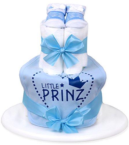 WINDELTORTE Jungen hellblau | Little Prinz| Baby Lätzchen, Babysocken +Grußkarte| Baby-Geschenk