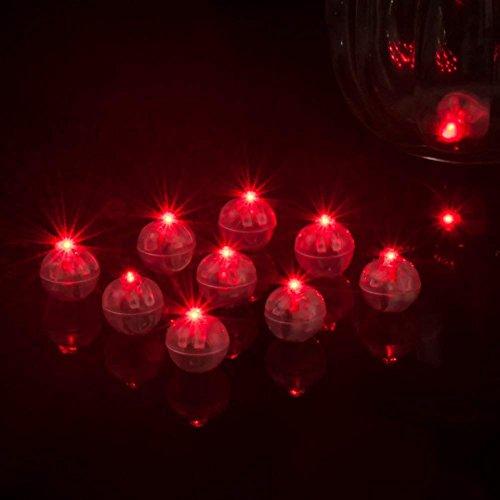 Ainstsk 10 runde Kugel-LED-Ballonlichter, leuchtende transparente runde Kugel-LED-Ballon-Lichter, Mini-Flash-Lampen, Laterne für Weihnachten, Halloween, Hochzeit, Party, Dekoration, rot, Free Size