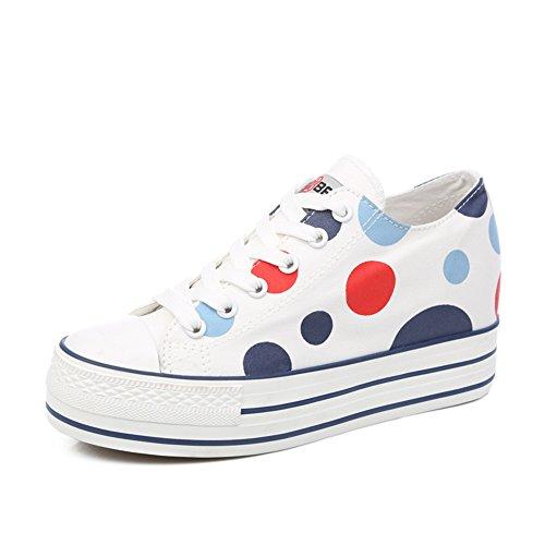 Estate scarpe di tela/Versione coreana dei pattini della piattaforma estate/Sneaker moda casual traspirante/Punto corrente-B Lunghezza piede=24.3CM(9.6Inch)