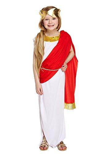 Mädchen römischen Göttin Kostüm Princess Toga Outfit 4-12Jahre - Weiß, 10-12 Jahre (Mädchen Römische Kleid)