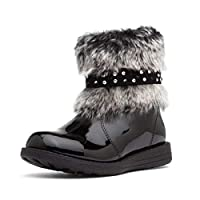 Walkright Kids Black Ankle Boot with Faux Fur