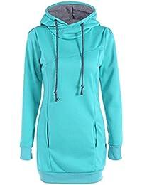 YuanDian Femme Automne Hiver Casual Long Sweatshirt A Capuche Col Haut Couleur  Unie Slim Fit Manches 2e11b7c443f