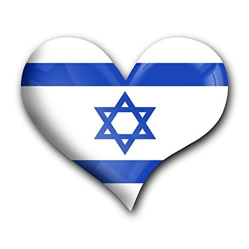 """Top Kühlschrank-Magnet aus Metall mit starkem Neodym-Magnetem und hochglänzender Kunstharzbeschichtung in Herz-Form """"Israel"""" von metALUm - tolles Geschenk für Israel - Fans"""