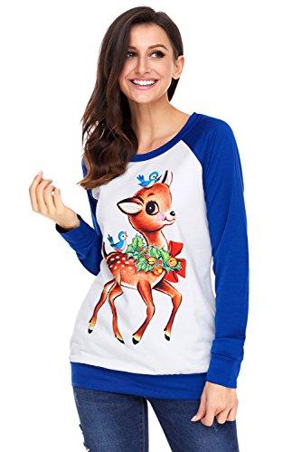 Charmley Femme T-shirt Noël Imprimé Top Manche Longue Col-Rond Lâche élégant Grande Taille Cadeaux Noël Pull Mode Bleu