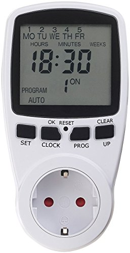 revolt Zeitschaltsteckdose: Digitale Zeitschaltuhr mit XXL-Display und minutengenauer Schaltung (Elektronische Zeitschaltuhr) (Trennen Digital)