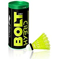 Li-Ning Bolt Hybrid (3 in 1) Nylon Badminton Shuttlecocks (Yellow)