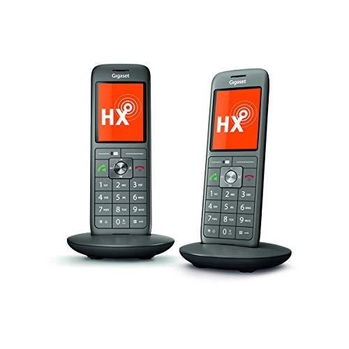 Gigaset CL660HX Duo - 2 DECT-Telefone - IP Telefon Fritzbox kompatibel - 2 Universal-Mobilteile mit TFT-Farbdisplay - große Tasten - VOIP schnurlos Telefone, anthrazit-metallic