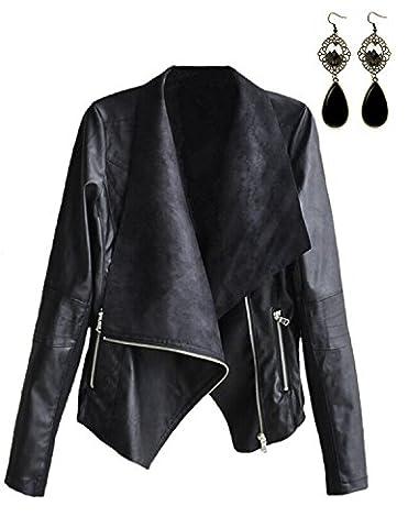 M-Queen Women Lapel Waterfall Jacket Short Biker Jacket PU Leather Irregular Blazer Bomber Coat Punk Rock Outwear