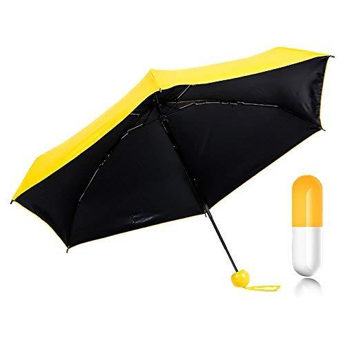 Symboat - Miniparaguas plegable para mujer con divertido diseño de cápsula. Para señora o niña. , amarillo