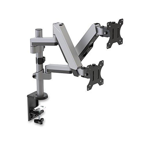 V7 Support de Moniteur de réglage du Double écran Tactile empilable - Supports d'écrans Plats pour Bureau (Pince, 8 kg, 43,2 cm (17\