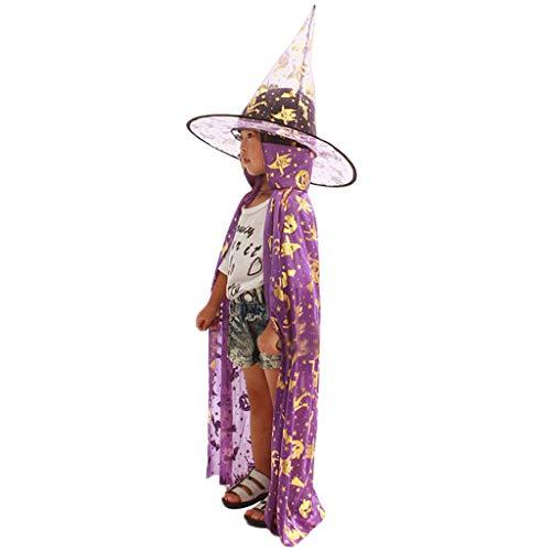 (kuangkk Halloween-Zauberer Hexe Umhang + Mütze Set Party-Kostüm für Kinder, Polyester, violett, 80 cm)