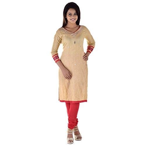 Aruna Singh Dark Beige And Red Kota Doria Salwar Suit For Women